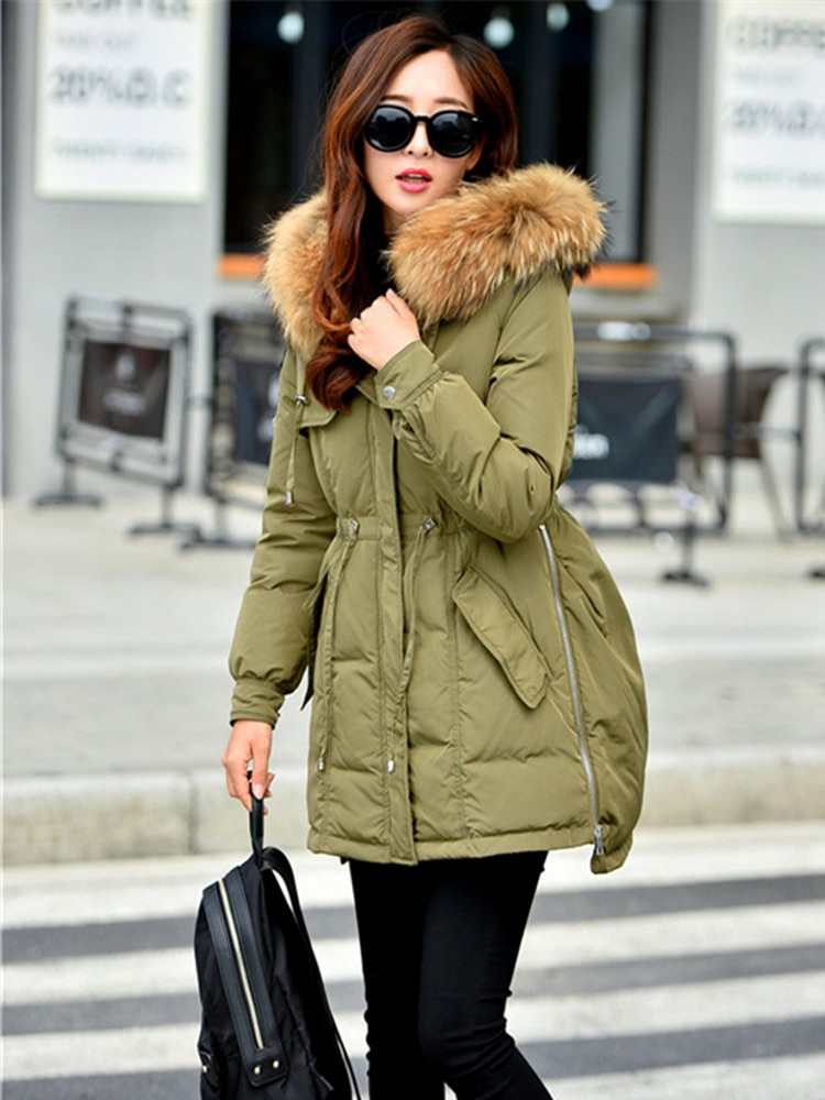 Korea fashion winter woman duck down jacket parkas lady coat with natural real fur collar hooded army green black sky blue pink