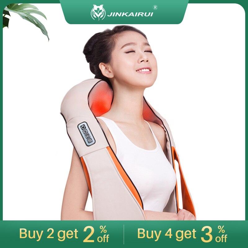 Jinkairui u forma elétrica shiatsu massageador xale rolo massagem de calor dor elétrica pescoço e ombro multi-função massagem