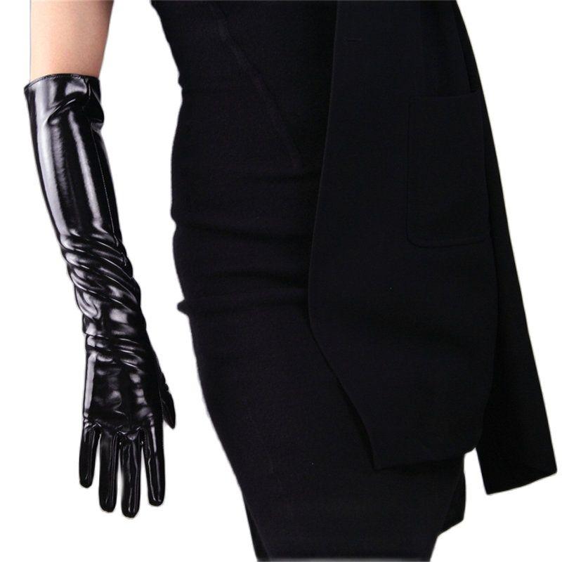 Женские перчатки длинные стильные яркие кожаные модные лакированные перчатки 50 см из искусственной кожи женские Искусственные кожаные тан...
