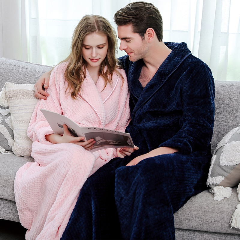 Men Winter Plus Size Long Coral Fleece Bathrobe Kimono Warm Flannel Bath Robe Men Cozy Robes Night Sleepwear Women Dressing Gown