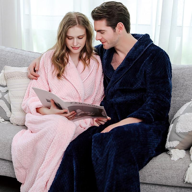 Men Winter Plus Size Long Coral Fleece Bathrobe Kimono Warm Flannel Bath Robe Men Cozy Robes Night Sleepwear Women Dressing Gown