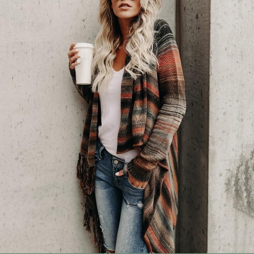 Autumn Winter Women Stripe Poncho Tassels Shawl Loose Sweater Cardigan Coat