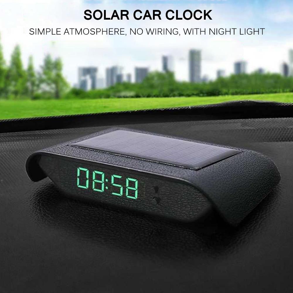 Auto Uhr Autos Interne Stick-Auf Digitale Uhr Mechanik Solar Leucht 24-Stunde Auto Dekoration Elektronische Zubehör