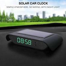 Car Clock Automobiles Internal Stick-On Digital Watch Mechanics Solar Luminous 24-Hour Car Decoration Electronic Accessories