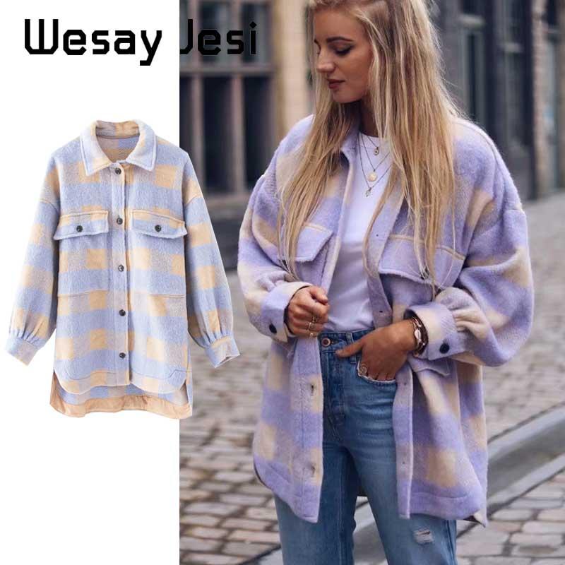 Moda mujer Overshirts Oversized Checked chaqueta de lana abrigo de bolsillo Vintage asimétrica mujer prendas de vestir exteriores Chic Casual Tops 2020