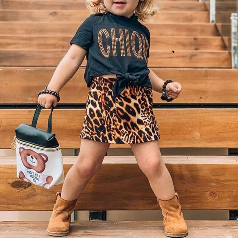 Leopardo niño chico bebé Niñas Ropa verano Camiseta de manga corta + faldas de leopardo trajes niños disfraces