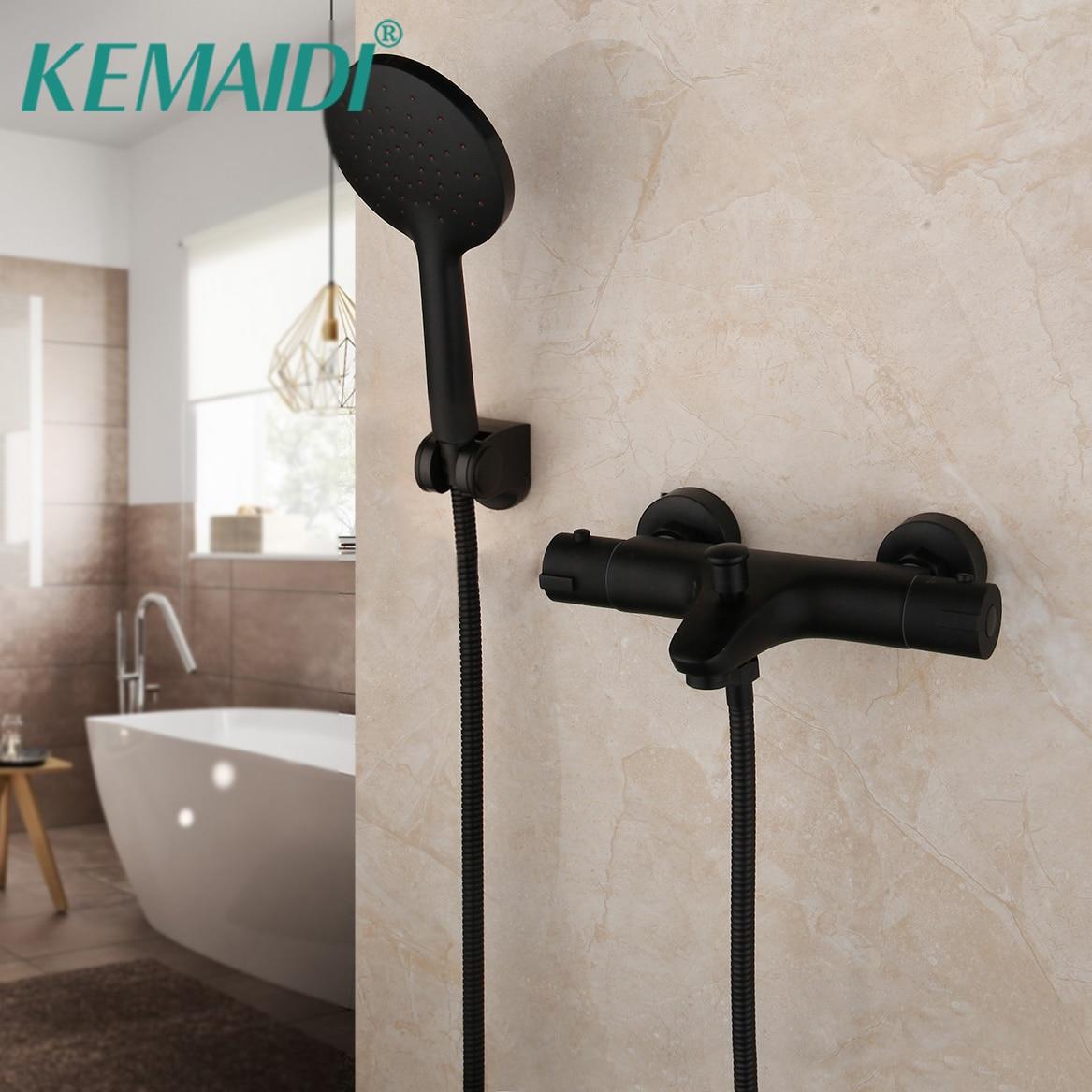 KEMAIDI mezclador termostático grifo temperatura constante ducha grifo mezclador negro mate bañera grifos de ducha de baño conjunto