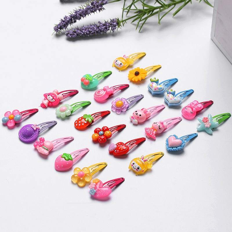 1/5/10pcs Kids Girls Butterfly Flower Shaped Infant Hairpins Accessories Girls Hairpins Multicolor C