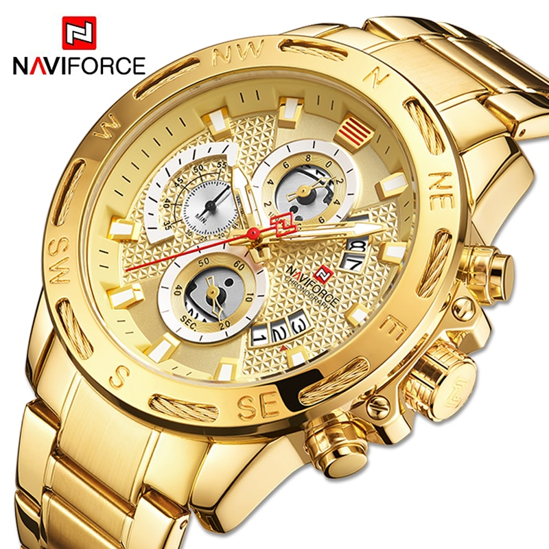 NAVIFORCE Mens Watches Sport Waterproof Stainless Steel Fashion Luxury Gold Watch Date Clock Quartz Wristwatch Relogio Masculino