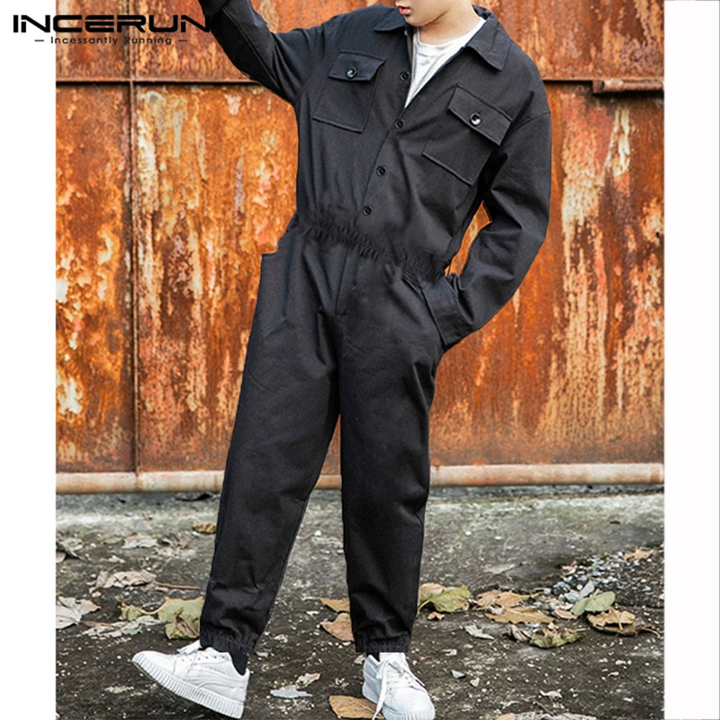 INCERUN Fashion Men Cargo Overalls Punk Style Pockets Pants Loose Solid Color Long Sleeve Rompers Men Jumpsuit Streetwear 2021