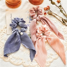 2021 New Women Hair Scrunchie Bows Pearls Ponytail Holder Hairband Bow Knot Scrunchy Girls Hair Ties