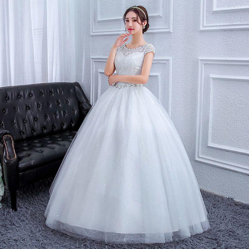 Vestido de novia de lentejuelas vestido de novia de encaje de talla grande vestido de novia WED90575