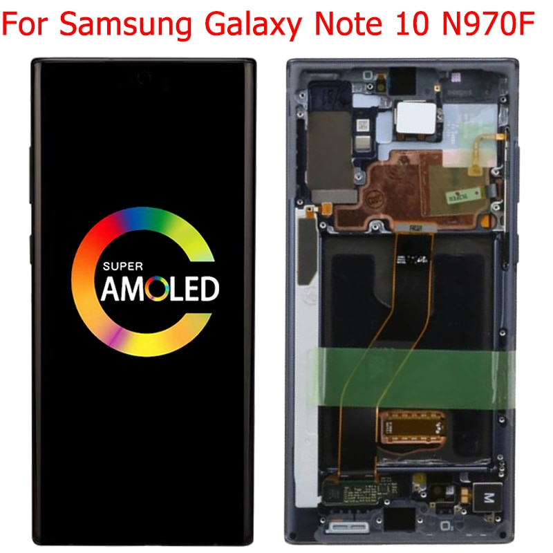 شاشة سامسونج جالاكسي نوت 10 N970F أصلية مختبرة 100% شاشة LCD تعمل باللمس مع إطار 6.3