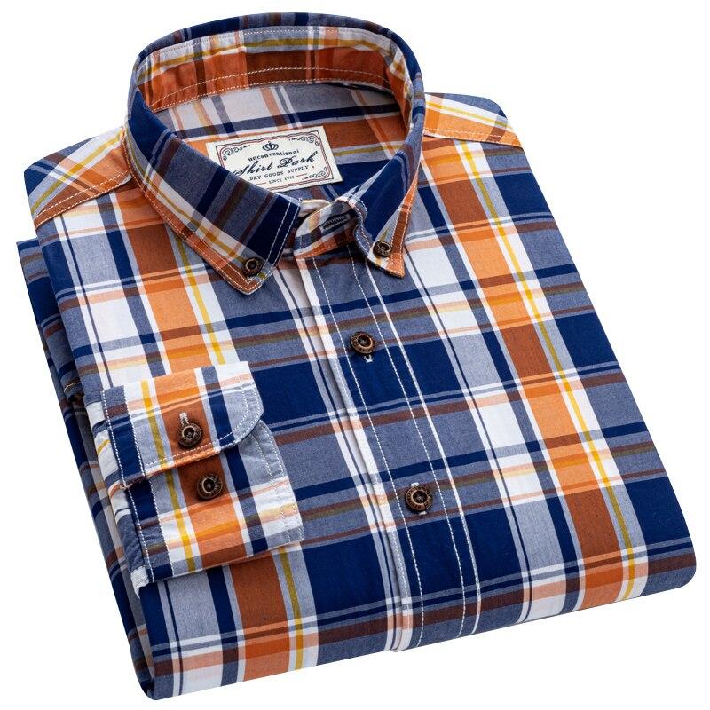 рубашка в клетку Рубашки с длинным рукавом мужская рубашка Рубашка AOLIWEN мужская длинная из степлера и хлопка, повседневная Облегающая рубаш...
