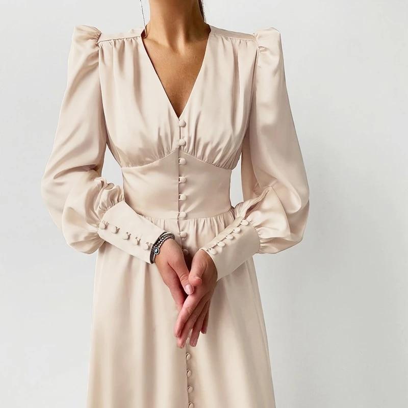 Satin Prom Women's Long Dress For Party Lantern Sleeve A-Line High Waist Slim Elegant Dresses 2021 C