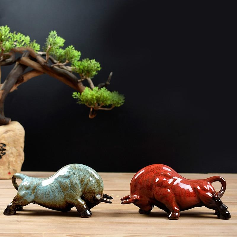 Cow Statue Animal Decoration Ceramic Crafts Creative Animal Tea Pet Furniture Decoration Desk Decoration Feng Shui Sculpture