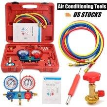 R134A Kit de réfrigération cvc A/C   Collecteur de jauge, Kit de Service automobile, réparation de climatisation automobile, outil de remplissage de Fluorine