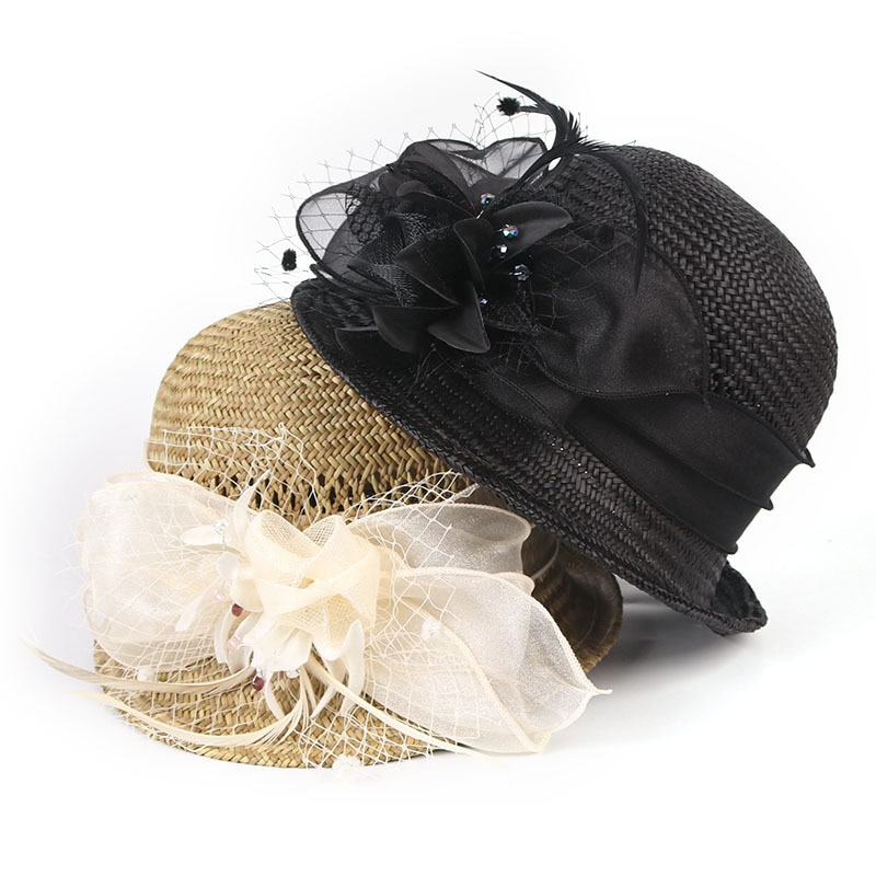 Sombrero ala ancha sombrero Fascinator de plumas y flores Cloche Sombrero de Paja de verano Fedoras Derby sombrero de Sol de iglesia para mujeres sombrero de cubo