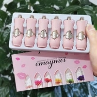 new pink lip gloss 6pcs mankeup lipstick set flower jelly crystal clear long lasting temperature cosmetics color change balm