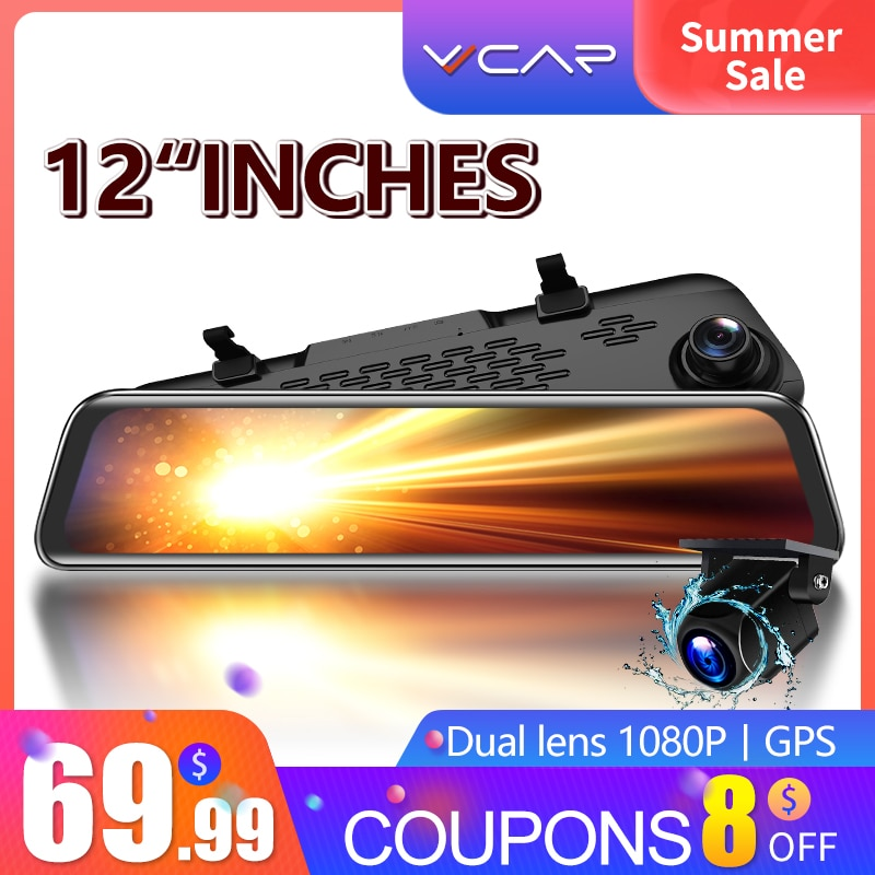 VVCAR-V17 Car Dvr Camera GPS 12-inch RearView Mirror FHD Dual 1080P Lens Driving Video Recorder Dash Cam