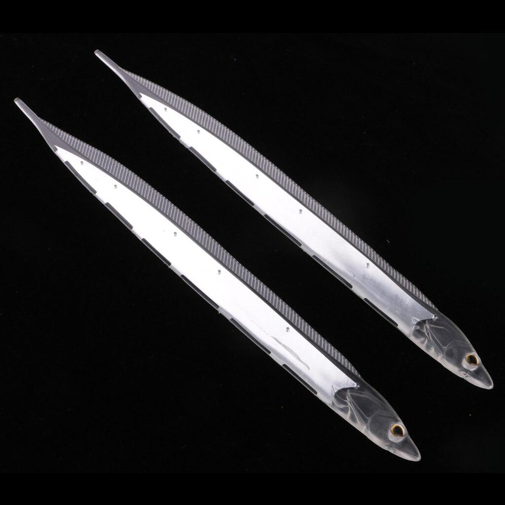 2 uds. Señuelo de pesca transparente, cebo suave, cola de pelo, pescado de lujo, atraer la pesca en el mar, 28 cm/11 pulgadas