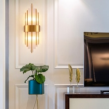 American European post modern golden metal crystal glass tube wall light lamp LED for villa hotel foyer living room wall sconce