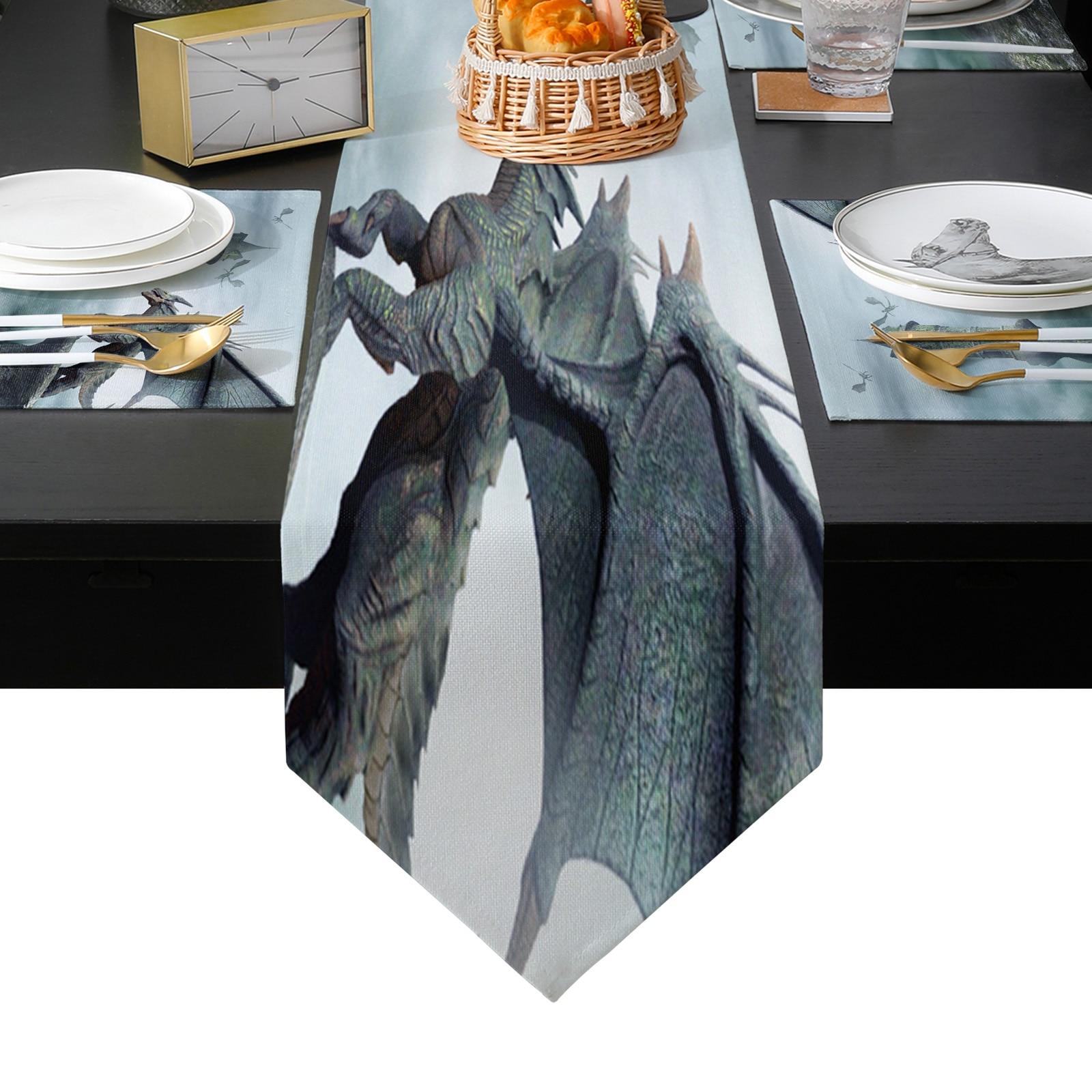 حجر التنين الجدول عداء عطلة المطبخ طاولة طعام العدائين مكان الحصير مجموعة للمنزل ديكور حفلات