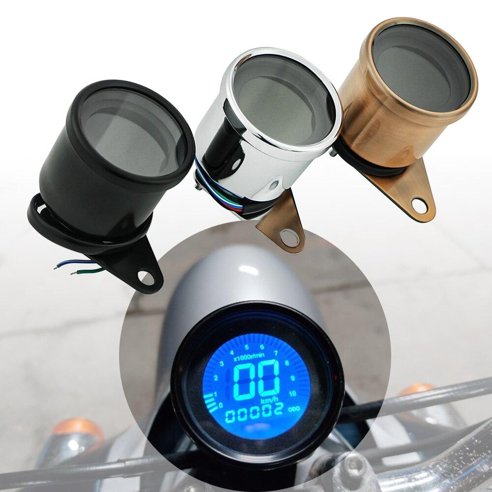 Velocímetro da motocicleta retro lcd odômetro cafe racer tacômetro indicador scooter atv medidor universal motocicleta digital 12v