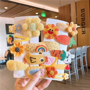 Korean Version Of Autumn And Winter Children's Hairpin Plush Cartoon Hairpin Headdress