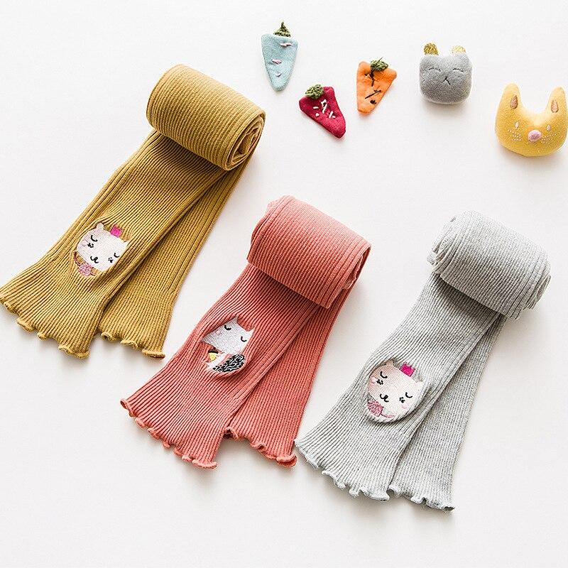 Pantimedias para niños de algodón Primavera Verano nuevo bebé femenino nueve puntos leggings bordado de dibujos animados de encaje 1-3-8 años de edad