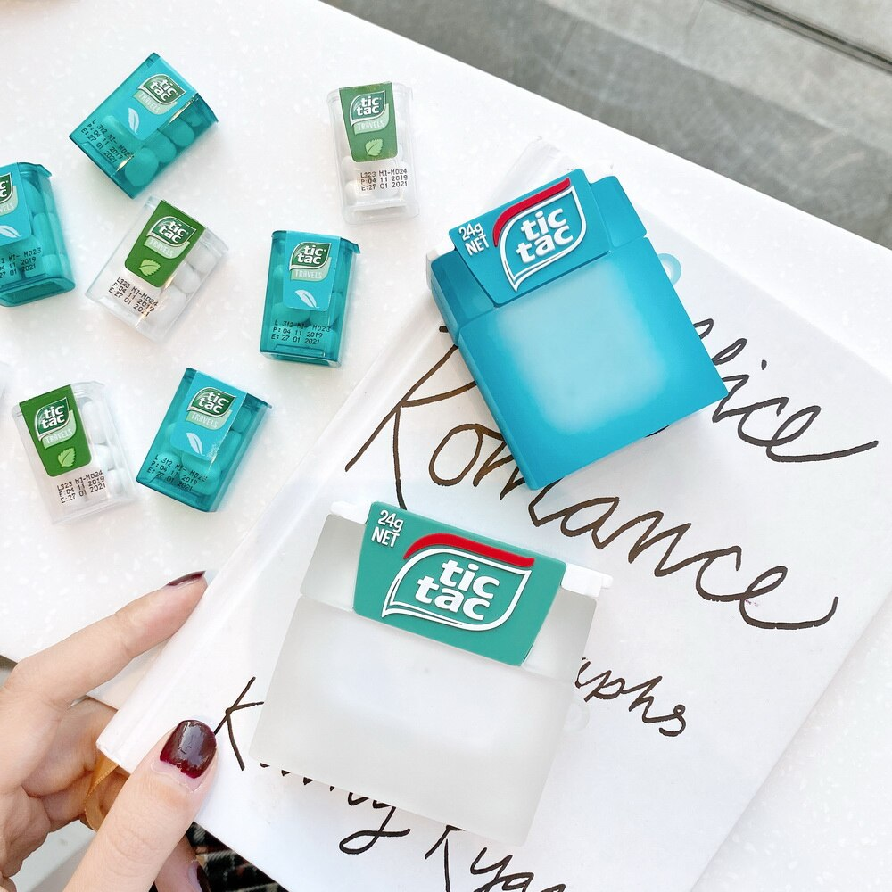 Funda de Airpods tictac mint refreshmint para compartir sabor fresco silicona suave chica hermana regalo funda protectora con gancho