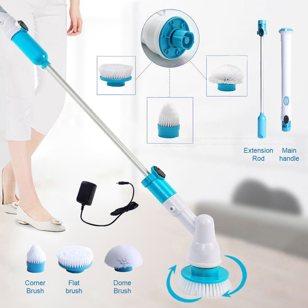 Electric Cleaning Turbo Scrub Brush Adjustable Waterproof Cleaner Wireless Charging Clean Bathroom Kitchen Cleaning Tools Set