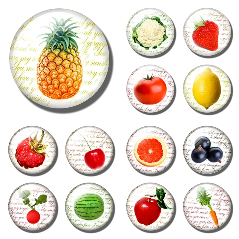 Фруктовый Ананасовый стеклянный холодильник с магнитом, украшение клубника, вишня, яблоко, лимон, апельсин, томатный фруктовый холодильник, магнитная наклейка