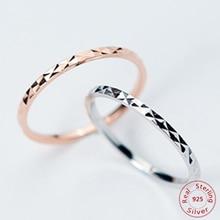 Corée Style 925 bagues en argent Sterling mode Simple brillant brillant Fine bague mince petite bague pour les femmes bijoux en or Rose