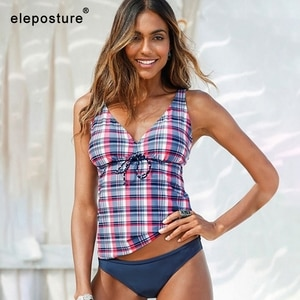 2020 Sexy Plaid Print Tankini Swimsuits Women Swimwear Two Pieces Swimsuit Vintage Retro Bathing Suits Beach Wear Swimming Suit