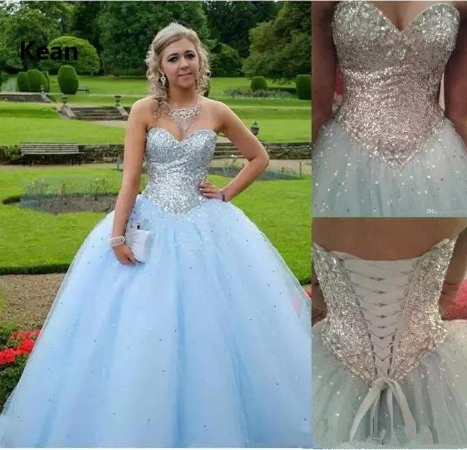 Sky Blue Quinceanera Dresses Strapless Sequin Crystal Bead Sweet 16 Dresses Graduation Gown Vestidos Ball Gown Evening Dress