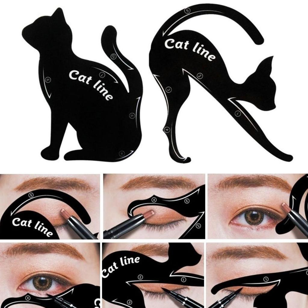 2Pcs/lot Charming Cat Line Eye Makeup Tool Eyeliner Stencils Template Shaper For Eye Makeup Eyebrow Stencils