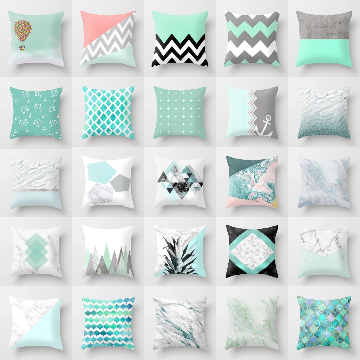 New 45x45cm Blue Green Geometric Cushion cover For Sofa Home Decor Polyester Cotton Throw Pillow Case Marble Texture Pillowcase