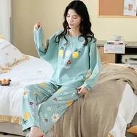 spring autumn womens sleep lounge pajama long sleeved woman pajama set cartoon pyjamas cotton sleepwear m l xl xxl xxxl fashion