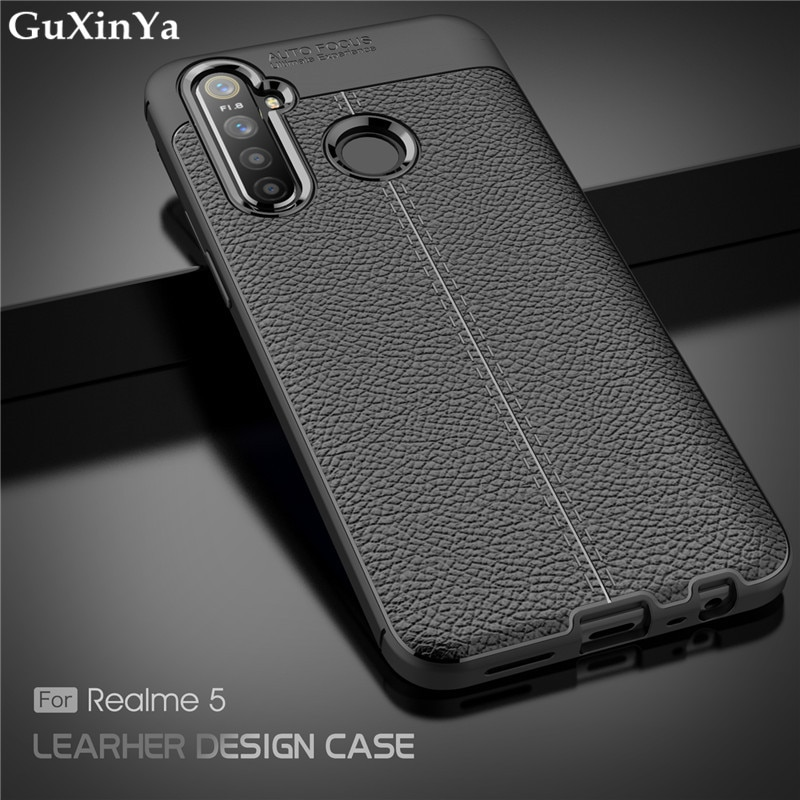 Cover Realme 5 Phone Case Luxury Leather ShockProof TPU Protective Case For OPPO Realme 5 Funda Real