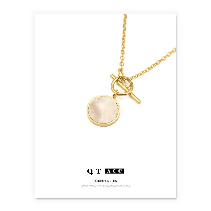 Stainless Steel Necklace Round White Natural Shell Gold Simple Natural Shell Sweater Chain For Women