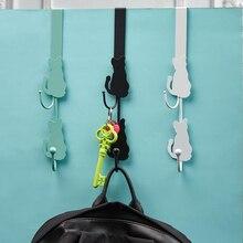 Creative Cute Cat Tail Refrigerator Stickers Cat Door Hook Strong Wall Hanging Free Punching Door Bathroom Hook