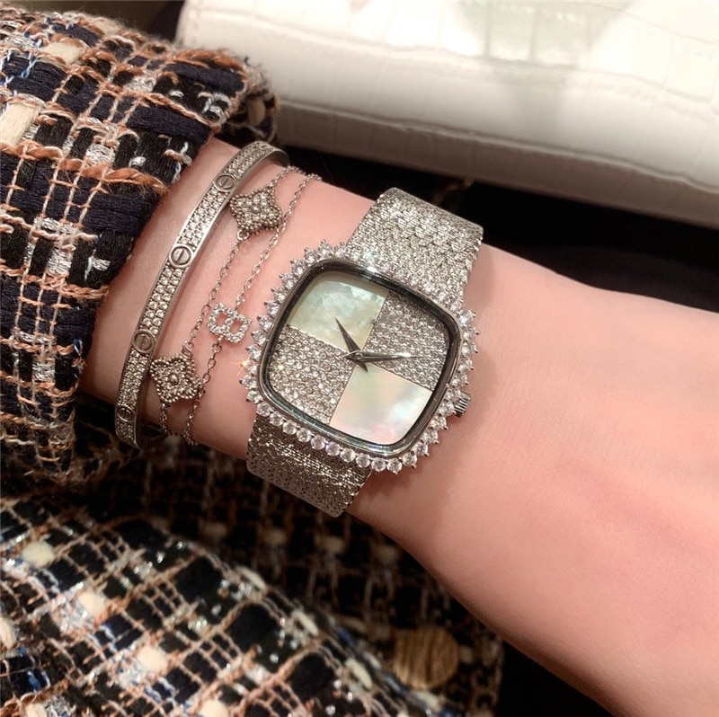 brand P woman quartz watch stainless steel band watch full gems square symmetr natural white pearl dial palte luxury atmosphere enlarge