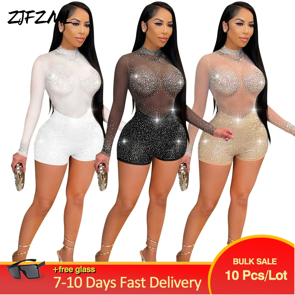 Bulk Items Wholesale Lots Sexy Bodycon Biker Playsuit Mesh Sheer Rhinestone Perspective Romper Office Lady Long Sleeve Outfits