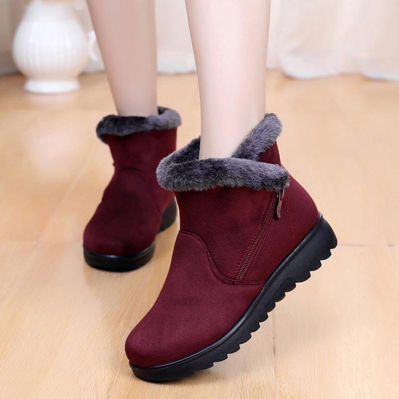 Snow Boots Women Winter shoes Zip Platform Wedge Ankle Boot Female Suede Plush Casual Shoes Plus Size Faux Fur Boots Women