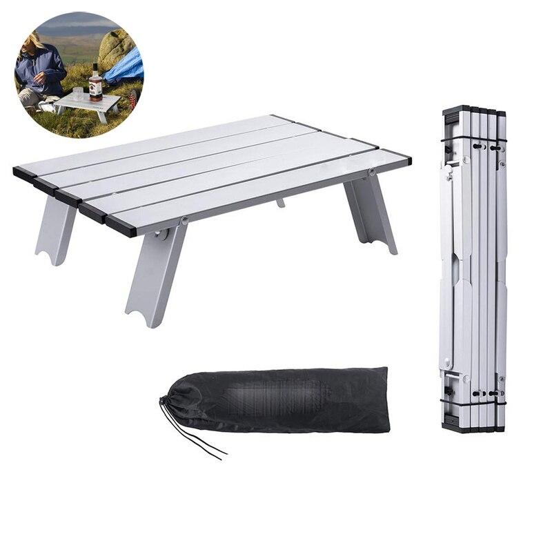 Potable de Metal Mini Rolling plegable de aluminio mesa de Camping plegable Camping escribiendo mesas escritorio ligero mesa de Picnic