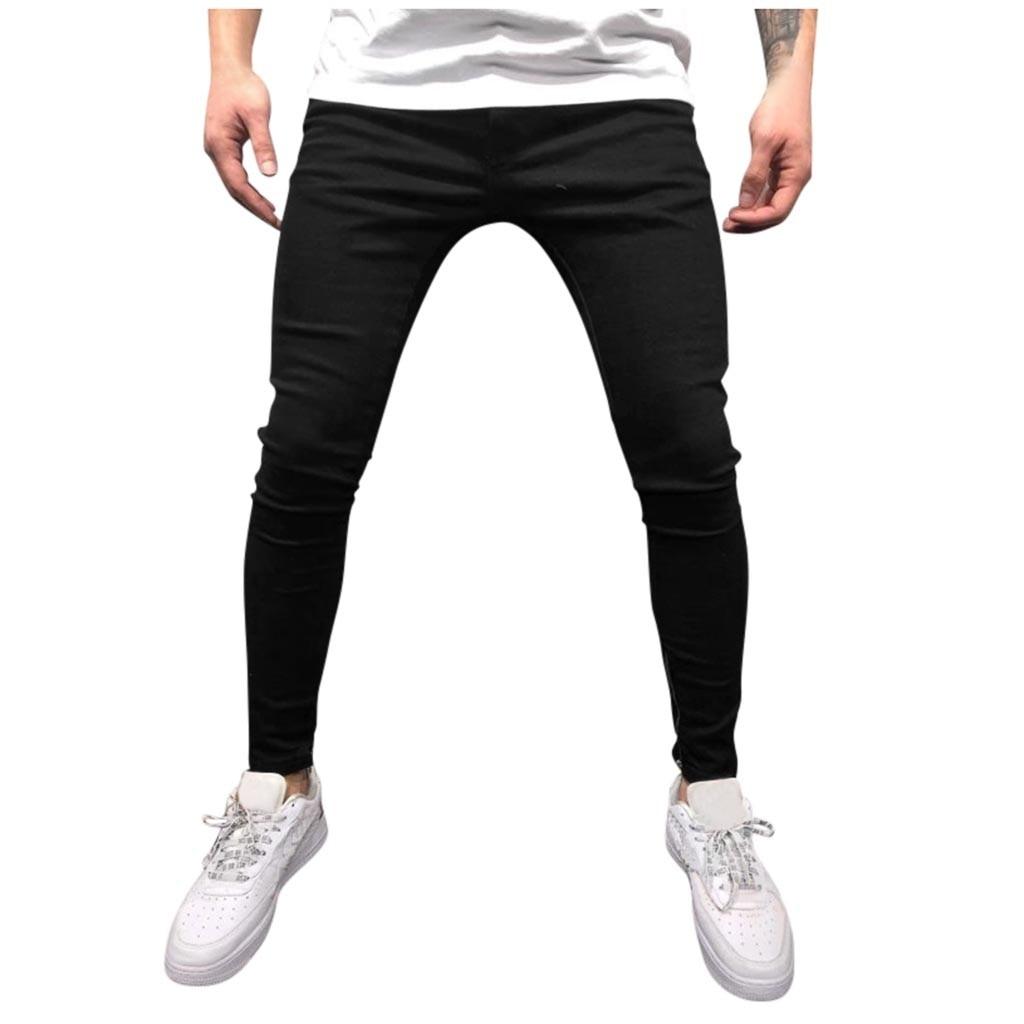 Pantalones negros de moda para Hombre Pantalones vaqueros desgastados Pantalones largos de tubo Streetwear Pantalones Hombre 2020 nuevo