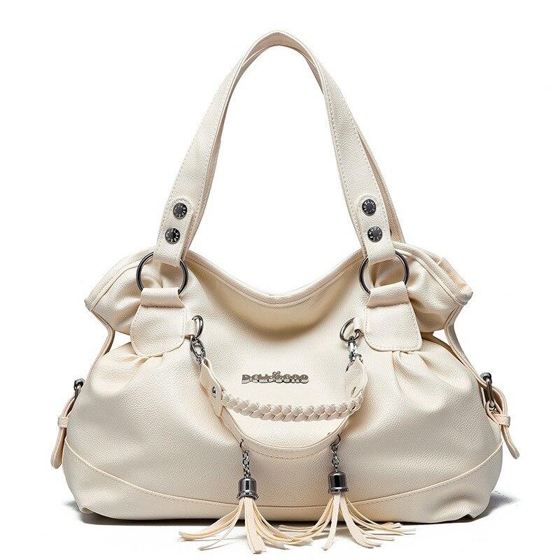 Nuevas de cuero borla bolsas de gran capacidad mujeres bandolera de hombro bolso famoso gran bolsa de diseñador de bolsos de mano de alta calidad
