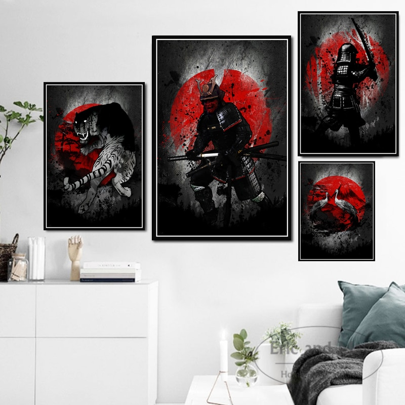 Hot Bonsa Bushido Samurai Kanji Ink Japanese Ninja Canvas Oil Painting Poster Prints Art Wall Pictures Living Room Home Decor