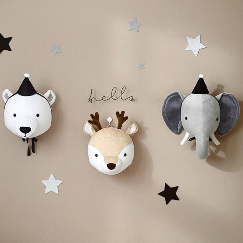 Nordic Style Baby Cartoon Stuffed Animal Head Plush Toy Wall Hanging Unicorn Kids Gift Nursery Children Room Decor Photo Props